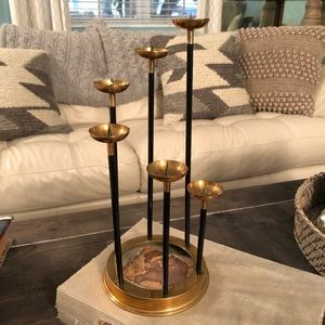 Vintage Mid Century Brass and Black Candleholder